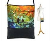 MadArt  Sling bag, mini crossbody bag fits iPhone 6 Plus, small shoulder bag purse,  Birds of a Feather, Tree, orange blue green MTO