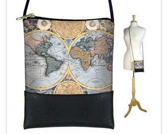 Small Cross Body Purse, Mini Crossbody Bag, Shoulder Bag  Old World Map Vintage Map, Steampunk, Victorian, Blue, Black MTO