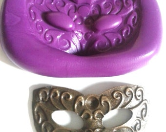 Ornate Mask Silicone Mould 33 mm - Highly Flexible - Sugarcraft, sugarpaste, polymer clay, fondant, icing, cake decorating