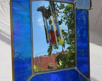 Mirror, Standing, 4 x 6 inch of Iridescent Blue Stained Glass, with Blue Square Beveled Glass in Corner