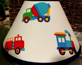 ON SALE Lampshade Lamp Shade made w OLIVE Kids Planes Trains and Trucks Transportation, Any Color Trim, 4 Sizes
