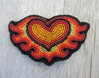 Heart on Fire Hair Barrette
