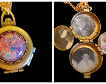 Harlequin Opal - Vintage  4 Picture Locket