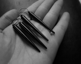 stake - black spike earrings edgy goth soft grunge jewelry handmade earrings - matte and vinyl finishes