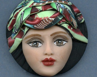 Polymer Clay OOAK Detailed Art Doll Face with Abstract hat Cab  CNF 4