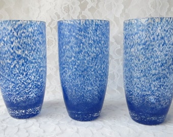 Cobalt Blue Splatter & Clear Blown Glass Large Tumblers Cups Glassware Set of 3 - 16 oz