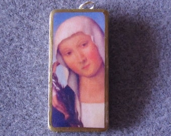 St. Catherine of Siena Recycled Domino Necklace Patron Nurses Firefighters CS4