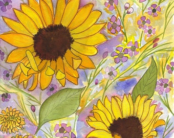 Sunflower Watercolor Note Cards Box of 10