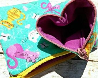 Aqua kitties square zipper pouches