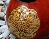 3 Celtic Knots pyrography and Gold Leaf wood burned Gourd Vase