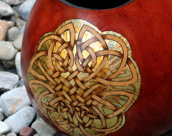 3 Celtic Knots pyrography and Gold Leaf wood burned Gourd Vase