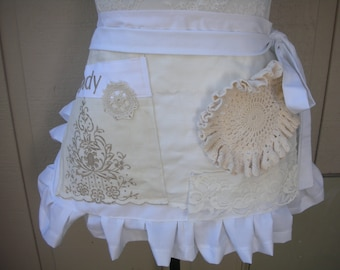 Wedding Shower Aprons - Monogrammed Lace Aprons - Shabby Chic Aprons - Cottage Chic Aprons - White Lace Aprons - Annies Attic Aprons