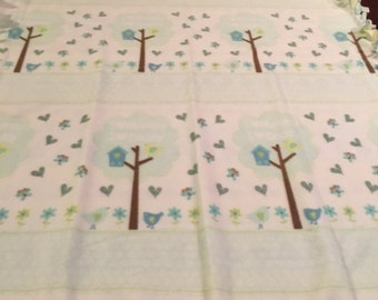 Baby Fleece Blanket Quilt with Birds and Birdhouses and Trees