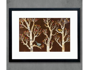 Fall Foliage Nature Print with Birds in Trees