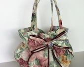 Bow purse , women handbag with bow , top handle floral  bag , bow bag , teens fashion bag , gift for her , teenagers purse , floral handbag