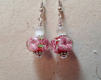 Double Pink  Floral Glass Earrings with Red Core on silver