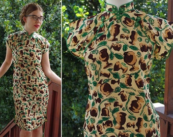 CHALICE 1930's 40's Vintage Bright Green Tan + Brown Rayon Crepe Mandarin Dress Qipao // size Small // Old Stock New