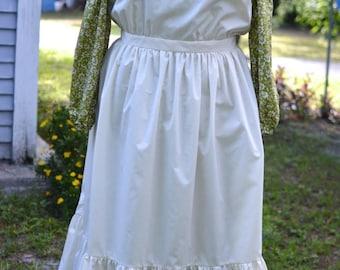 Ladies, size 16/18 Pioneer/Prairie costume in light olive and cream.