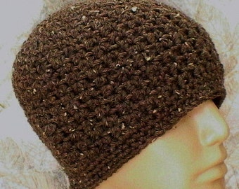 Crochet beanie hat, barley taupe tweed, skull cap, toque, skateboard hat, brown hat, ski snowboard, biker runner hiker hat, mens womens hat