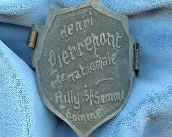 French Head Badge Bicycle Aluminum french HENRI PIERREPONT Antique Vintage 1374