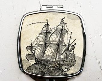 Flying Dutchman Compact Mirror Vintage Ship Pocket Mirror