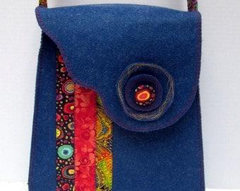 Crossbody bag, Crossover shoulder bag, Messenger bag, Book bag, Purse, Navy Blue Felt