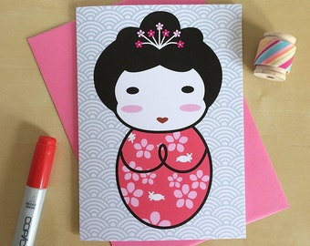 Japanese Kokeshi Doll Kawaii Card