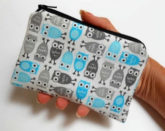 Owls Little Zipper Pouch Coin purse ECO Friendly Padded NEW Mini Blue Owls