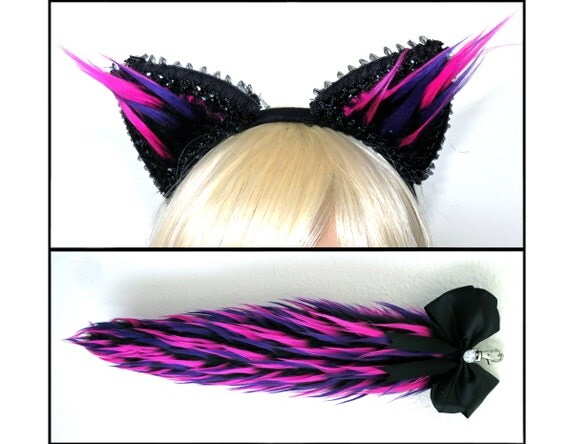 Cheshire Cat Ears And Tail Set Purple And Pink