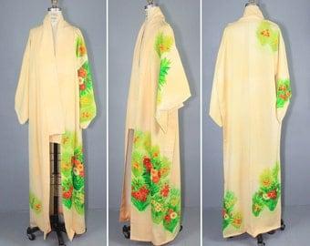 vintage kimono / silk robe / dressing gown / ALSTROEMERIA wedding kimono