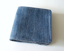 Denim Wallet, Slim Cotton Wallet, from Upcycled Denim, Boyfriend Wallet, for Guys, Men's Vegan Wallet, Ready to Ship