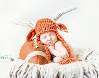 baby longhorn hat crochet newborn photography prop texas longhorn