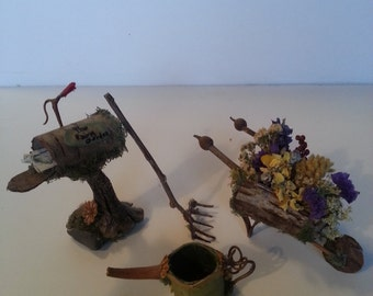 """Garden gnome's wheelbarrow, rake, watering can and mailbox, made from natural materials, 2"""" to 4"""" tall, whimsical and cute!"""