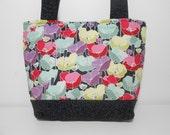 Medium Tote Bag Jewel Tote Floral, Black Floral Purse