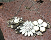 Trio Metal Flower Statement Necklace with Pearl and Rhinestones and 18 Inch Brass Chain