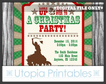 Cowboy Christmas Invitation Country Western Theme Holiday Xmas Winter Old West Party Digital Printable Customized Brown Rustic 5x7 Horse