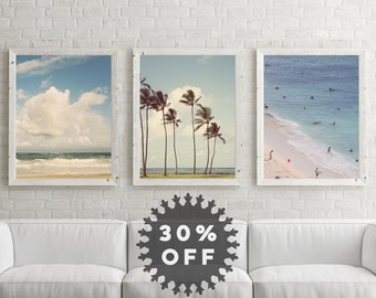 SALE Beach Photography Set, Beach Decor, Three Ocean Prints, Blue Wall Art, Ocean Art, Beach House Decor, Ocean Decor, Palm Trees