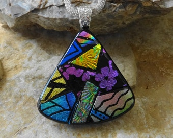 Fan Shaped Dichroic Fused Glass Necklace, Dichroic Jewelry, Picasso Pendant, Fused Glass Pendant, Zentangle Style Glass Pendant