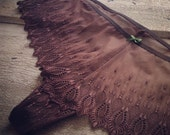 """SAMPLE SALE (save 10%) — CHARLOTTE """"Lace String Panty"""" - sexy sheer chocolate brown embroidery lace — hip size 106 cm"""