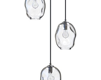 Clear River Rock Cluster Pendant Chandelier Hand Blown Custom Lighting by Providence Art Glass and Lighting