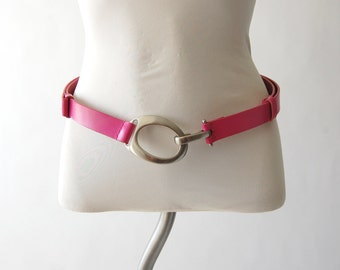Pink Genuine Bonded Leather Belt / adjustable / Silvertone O-ring with hook buckle / osfm osfa