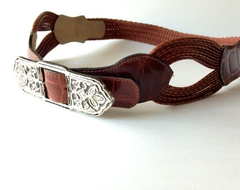 Vintage Leather Cinch Belt / silver metal / southwestern boho chic / whisky brown / embossed alligator / Chunky S M L Xl