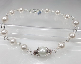 Something Blue-Swarovski White Pearl Bridal Bracelet-Gift-Wedding