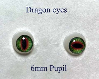 Hand Made Dragon Eyes 6mm - Green - Fantasy - Character - Creature - Reptile OOAK