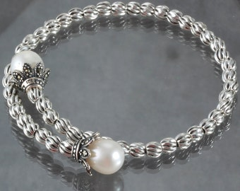 White Pearl Marcasite Sterling Silver Memory Wire Bangle Bracelet