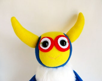 Aviator Monster Stuffed Animal Doll Plush Toy Kawaii Plushie Softie Colorful Snuggly Cuddly Cute White Yellow Red Blue Steampunk