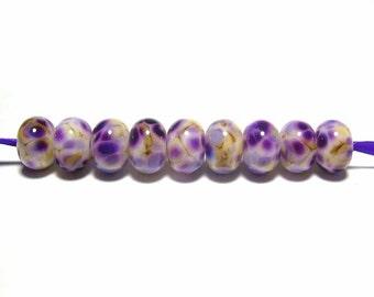 Handmade Lampwork Glass Beads - Purple Iris