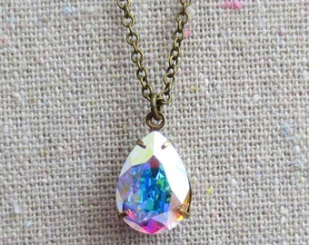 Swarovski Crystal AB Aurore Borealis Teardrop Simple Delicate Pendant Bridal Aged Brass Necklace, Wedding Jewelry, Bridesmaids Gifts
