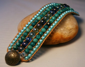 Beautiful Bohemian Style Handmade Leather Cuff Wrapped Bracelet