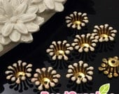 FG-EX-08003LP- Nickel Free, Raw Brass, Flower bud beadcap, light peach, 12pcs